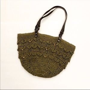 Handbags - Olive Green straw purse with beaded detail